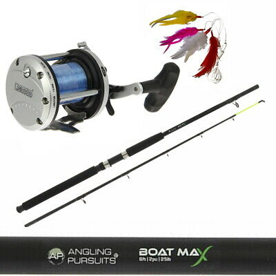 Boat Fishing Rod 6ft & Reel Multiplier Boat Sea Fishing + Feathers + Lure