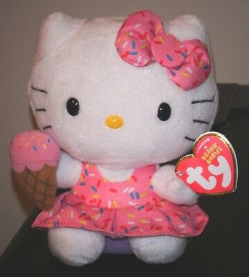 "Ty Beanie Baby ~ HELLO KITTY 6"" Ice Cream ~ 2014 ~ MINT with MINT TAGS ~ NEW"