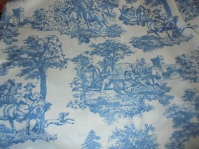 Beautiful knit fabric blue and white toile material Country Cottage Chic YARDS