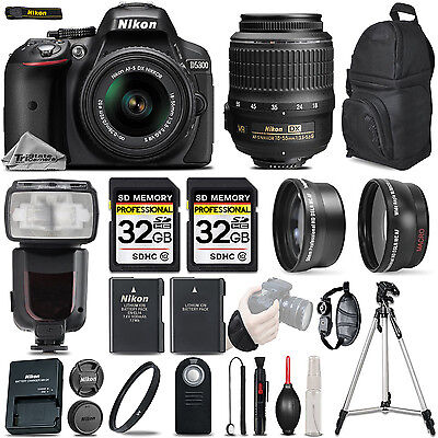 Nikon D5300 Digital SLR Camera Black + 3 Lens: 18-55mm VR II Lens + 64GB Bundle