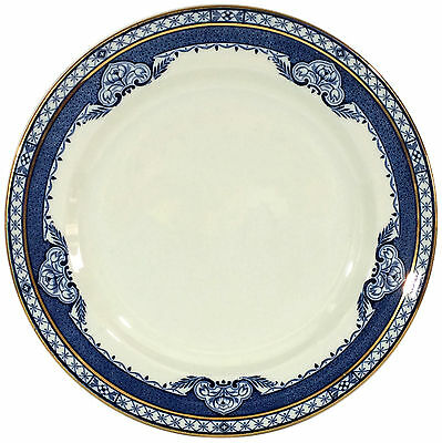 "Vintage Burleigh Ware 10-1/4"" Dinner Plate - Blue & White ""Kenilworth"" Pattern"