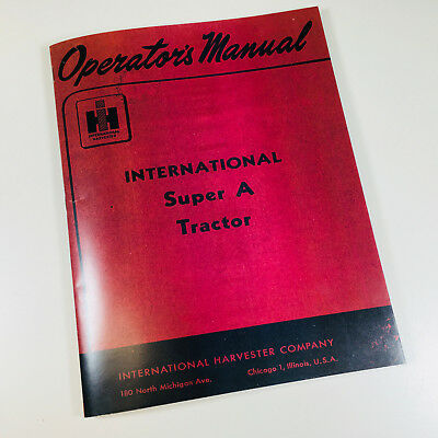 International Farmall Super A Tractor Owners Operators Manual Ihc Printed Carb