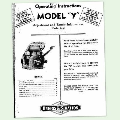 Briggs And Stratton Model Y Engine Operating Repair Manual Service Owners Bs &&