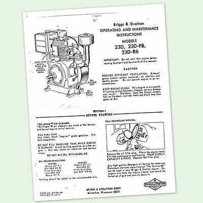 Briggs And Stratton Model 23D-R6 Engine Owners Operators Maintenance Manual & Bs