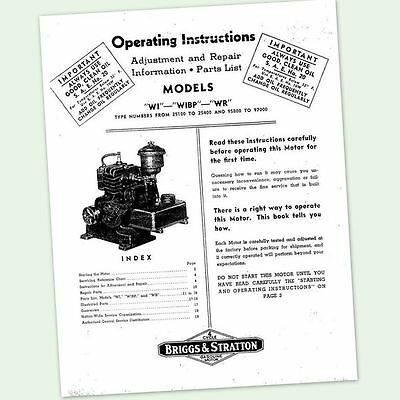 Briggs And Stratton Model Wi Wibp Wr Engine Operators Owners Maintenance Manual