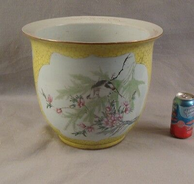 Antique large 19c Chinese famille jaune porcelain jardinere w/ birds