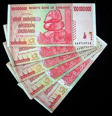 5 x Zimbabwe 100 Million Dollar Banknotes-paper money currency