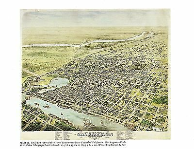 "MARICOPA 1885 /"" Color Art Lithograph 1976 Vintage CITY /""BIRDS EYE VIEW PHOENIX"