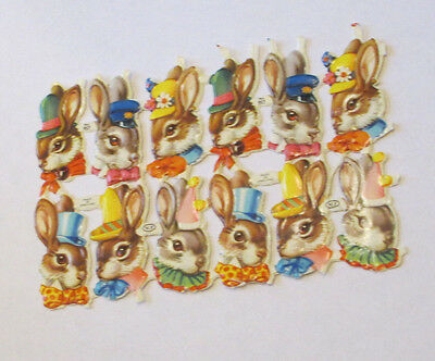 12 Old Stock Mp England Easter Bunny Rabbits W Hats Heads Die Cuts Scraps Sheet