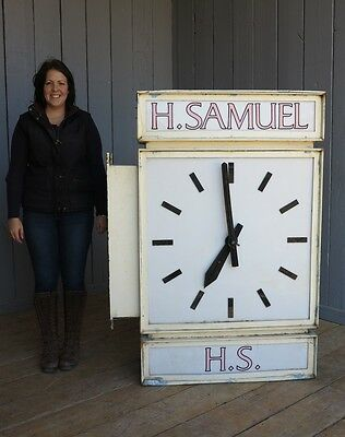"Double Sided Wall Mounted H Samuel Jewellers Advertising Clock - 58"" Tall"