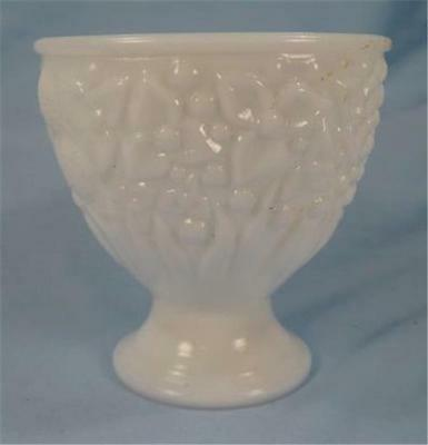 Vintage Floral White Milk Glass Planter Vase Avon Lovely AS IS (O)