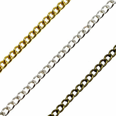 2 Meters 2x2.3mm LINK CURB Chain Jewellery Necklace Findings Lead Nickel Free
