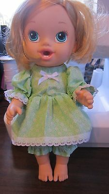 """2 pc Green Floral Print Dress set, fits 12"""" 'Brushy Baby' Baby Alive dolls"""
