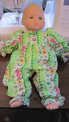 "Green Floral Stripe Print Romper, fits 15"" AG Bitty Baby"