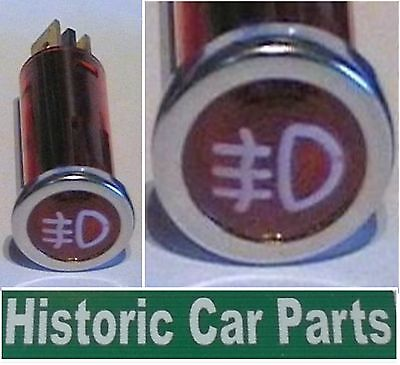 REAR FOG Lights ON - 12v RED Warning lamp with White Icon suit 1950-80s Classic