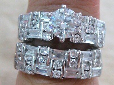 925 STERLING SILVER Round Cz Wide Band BRIDAL SET Engagement & Wedding sz 6-13us