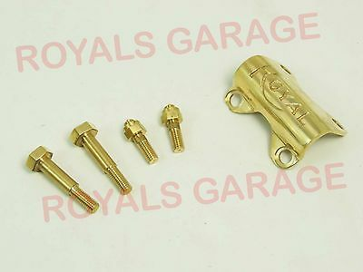 Brass Handle Bar Clip Clamp With Royal Enfield Logo&bolts For Classic Electra