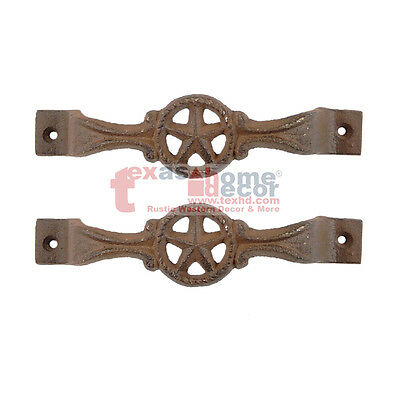 2 Star Cast Iron Antique Style RUSTIC Barn Handle, Gate Drawer Pull, Shed Door