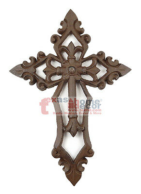 Fleur De Lis Victorian Old Style Wall Cross Cast Iron Layered Look Wall Mounted