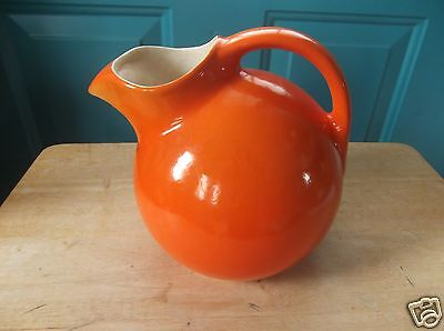Vintage Orange Art Pottery Ball Pitcher with Ice Lip Rumrill 547