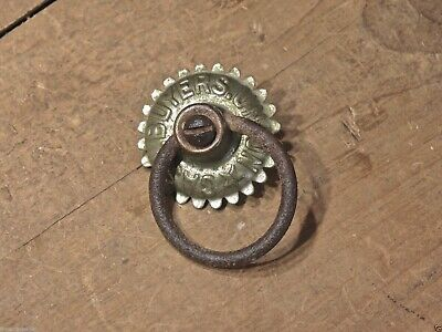 drop handle CASH BUYERS UNION drawer ring pull rustic nickel brass old antique
