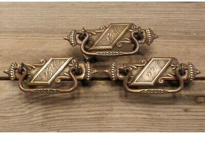 3 Drawer Pulls drop handle stork crane antique old brass vintage 1800's figural