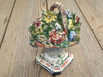 Door stop Flower Basket antique vintage paint cast iron old Hubley book end