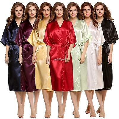 Women Luxury Nightdress Satin Kimono Sleepwear Lingerie Dressing Gown Robe