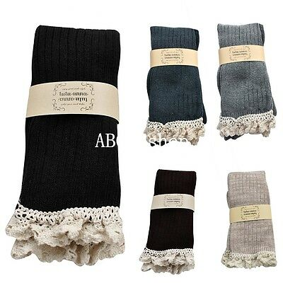 Women Crochet Lace Trim Over The Knee Stockings Boot Socks Cotton Leg Warmers