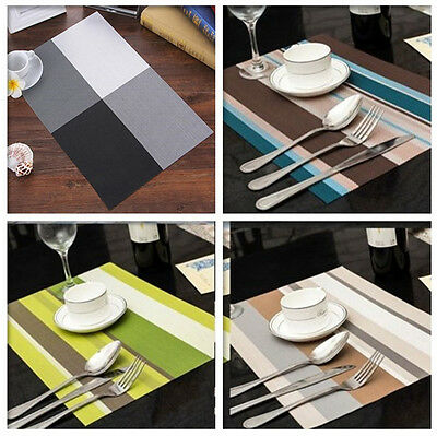 Waterproof Placemats Vintage PVC Insulation Plaid Dining Table Mats Pad Coaster