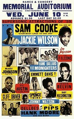 RR26 Vintage Sam Cooke Jackie Wilson Rock & Roll Concert Music Poster A3/A4