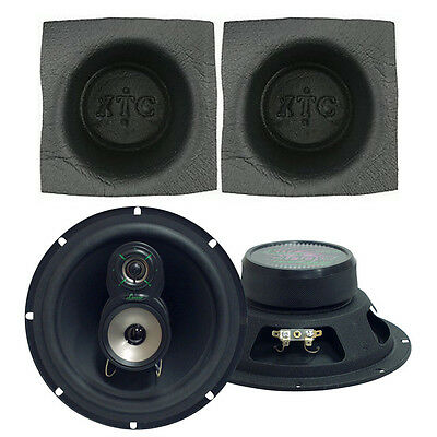 "Lanzar VX830 Car Stereo 1 Pair Standard 8"" 3-Way Speakers W/ Grills Wires Baffle"