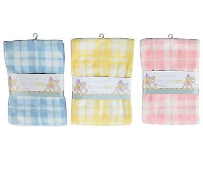 Super Soft Check Baby Fleece Blanket New Baby Cot Bed Mosses Pram Basket