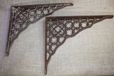 "2 Shelf brackets 8 X 10"" vintage old 1880's gothic lattice primitive rusty iron"