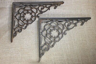 "2 Shelf brackets 6 X 8"" vintage old Victorian 1880's hex spider web cleaned iron"