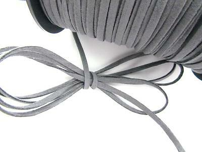 10 yards Genuine Leather Flat Suede Cord 3mm Trim/Sewing/Lace/Craft T163-Grey
