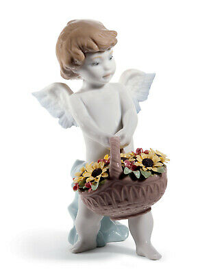 Lladro #8676 Heaven's Harvest Brand Nib Angel Flowers Religious Save$$ Free Ship
