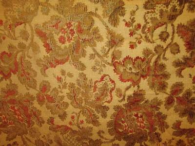 Antique Vintage CHENILLE Tapestry Burgundy Gold Brown Upholstery BTY 56w 8 avail