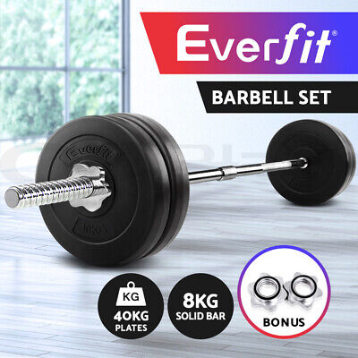 Everfit 48KG Barbell Set Weight Plates Bar Fitness ExerciseGym Home Bench Press