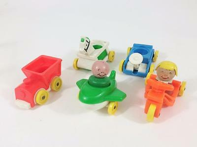 Fisher Price Vtg Orig Little People Play Family Riders Vehicles 656 USA 7p Wood