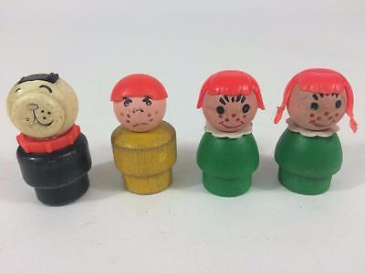 Fisher Price Vtg Little People Family 4 p Lot D Asst Dog Freckles Redhead Angry