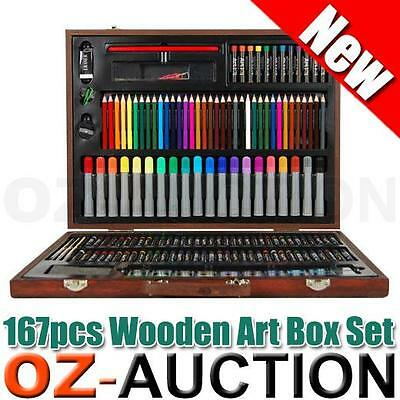 Wooden Art Box Set Pastel Water Crayon Colouring Painting Drawing 167 Piece