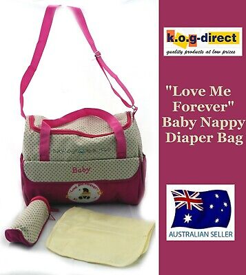 Baby Diaper Tote Nappy Bag With Change Mat And Bottle Holder Pink B39