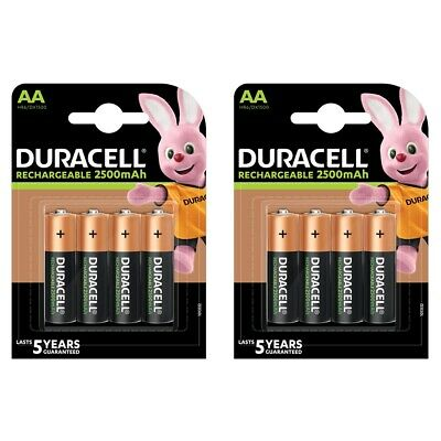 8 x Duracell AA 2500mAh Duralock PRE / STAY CHARGED Ni-Mh Rechargeable Batteries