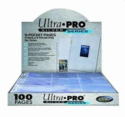 (100) Ultra Pro 9-Pocket Trading Card Pages Album Binder Sheets Silver Series
