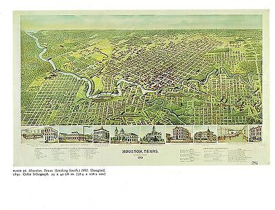 """1976 Vintage CITY /""""BIRDS EYE VIEW OF OLYMPIA PUGET /"""" Color Art Lithograph 1879"""