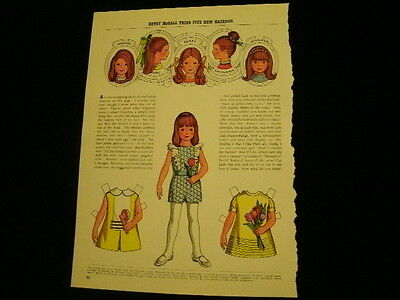 1971 Betsy McCall Tries Five New Hairdos UNCUT PAPER DOLL   A42B