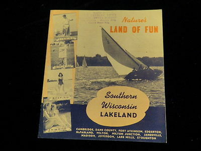 Vintage 1930's-1940's Southern Wisconsin Travel Brochure w/Pictorial Map    R553