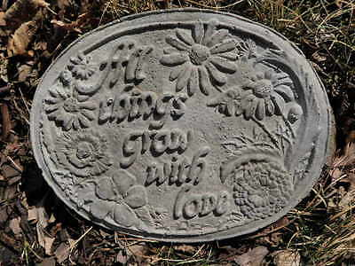 "11"" Wide Cement ALL THINGS GROW WITH LOVE Plaque Garden Art Concrete   A"