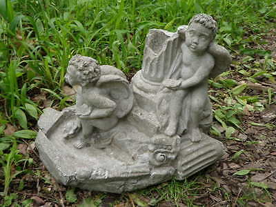 "Vtg Cement 11"" Tall 2 Angel Cherub Fountain Top Topper Garden Statue Concrete  A"